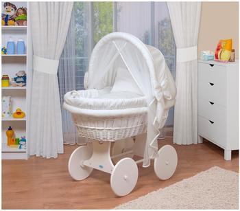 Waldin Baby Stubenwagen-Set (1211) Gestell/Räder weiß lackiert, weiß