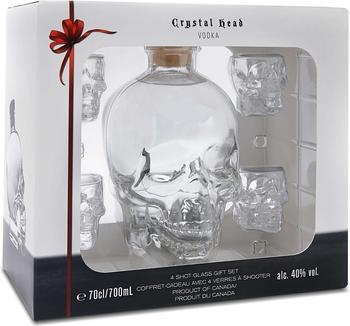 Crystal Head 0,7l 40% Geschenkset mit 4 Shotgläsern