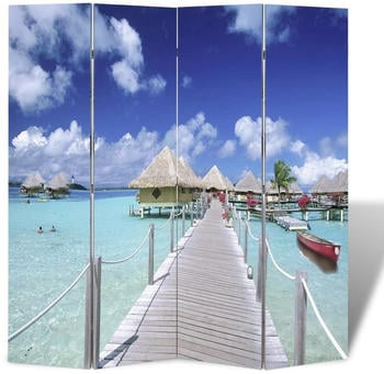 vidaXL Foldable Room Divider Beach 160 x 170 cm