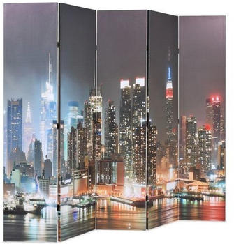 vidaXL Foldable Partition New York at Night 200 x 170 cm