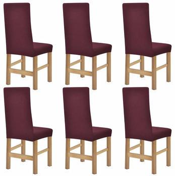 vidaXL Chair Covers Expandable Burgundy 6 Pieces