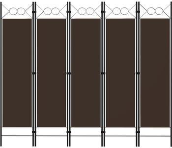 vidaXL Raumteiler 5-tlg. 200x180cm braun