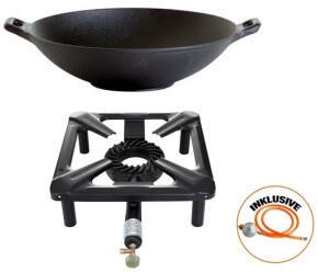Paella World Hockerkocher-Set mit Gusseisen-Wok 37 cm