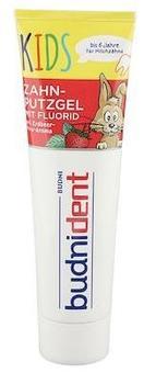 Budnident Zahnputzgel mit Fluorid Kids Erdbeer-Minz-Aroma 100 ml